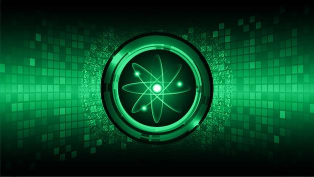 Schema di atomo brillante verde scuro. illustrazione.