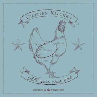 Schema di pollo tagliato