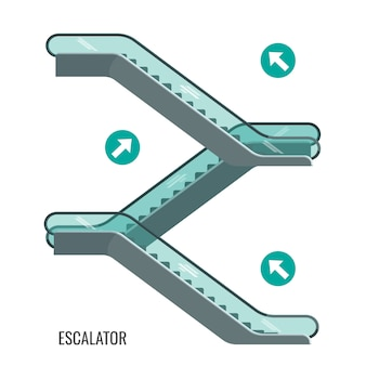 Schema di scale mobili in movimento, scale con frecce che mostrano il modo di movimento, vista laterale del meccanismo di elevazione.