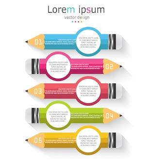 Schema per l'istruzione e gli affari con una matita con cinque opzioni
