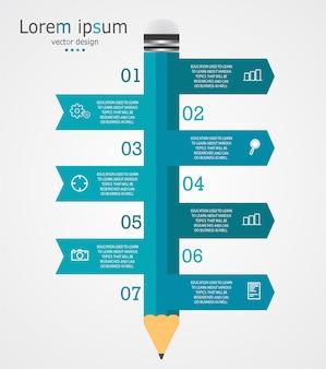 Schema per l'istruzione e gli affari con una matita con tredici opzioni