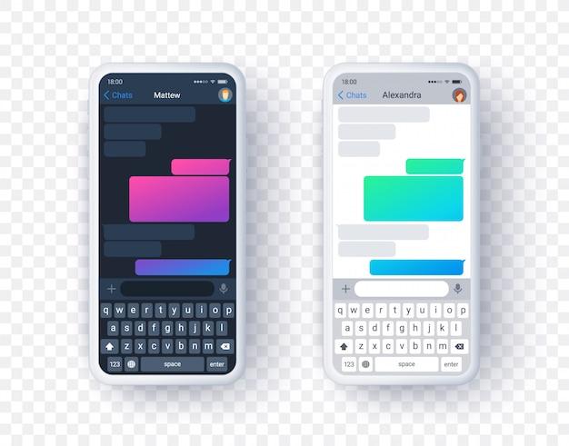 Schermata dell'app di chat in modalità chiara e scura, casella di testo sfumata con tastiera in stile piatto. sfondo.