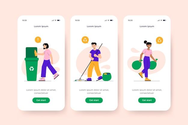 Schermata dell'app integrata per il concetto di riciclo