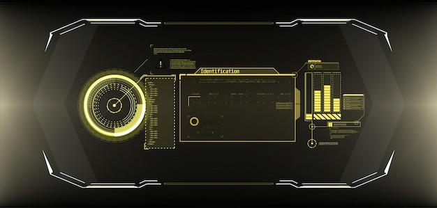 Schermata dell'interfaccia del cerchio futuristico. stile astratto su sfondo blu.