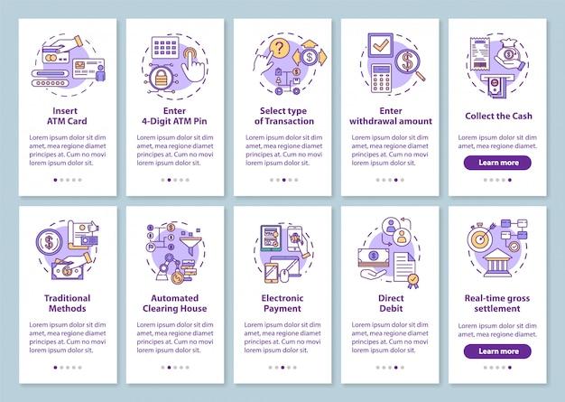 Schermata della pagina dell'app mobile onboarding dei pagamenti con concetti lineari. metodi tradizionali. guida alle transazioni. istruzioni grafiche dettagliate per i passaggi.