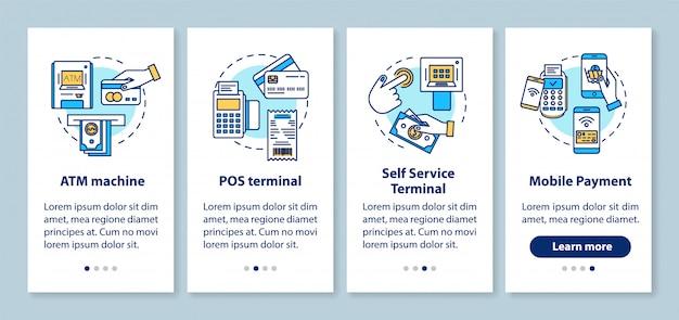 Schermata della pagina dell'app mobile onboarding di pagamento con concetti lineari. bancomat. terminali pos e self-service.