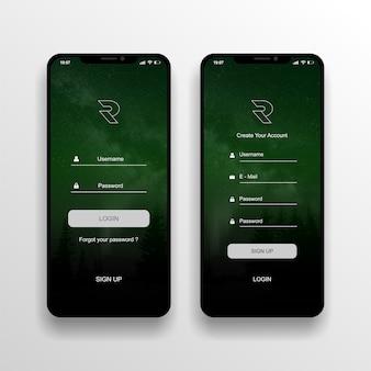 Schermata di accesso aplikasi di progettazione ui / ux