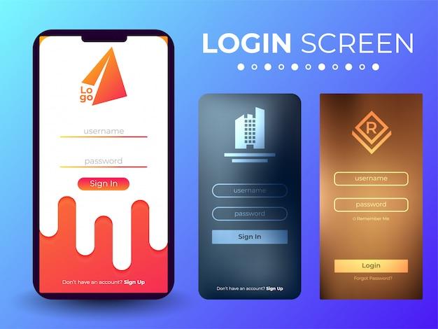 Schermata di accesso mobile ui