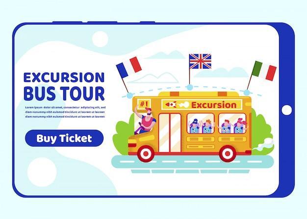 Schermata di bordo della pagina dell'app mobile app bus tour