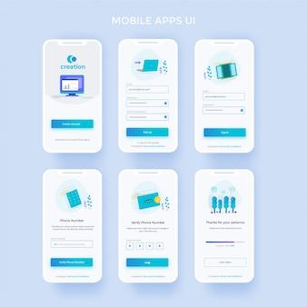 Schermata iniziale registrati e accedi allo schermo mobile