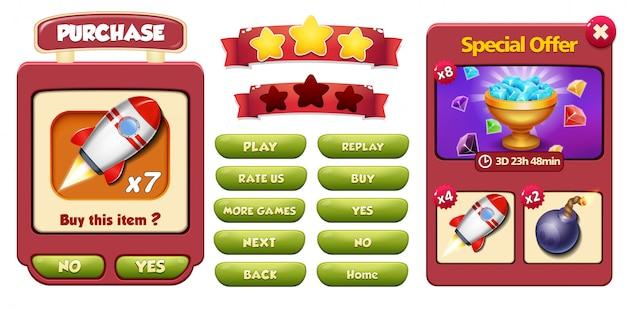 Schermata pop-up del menu offerta e acquisto speciale con gemme, razzo e bomba