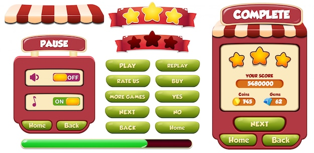 Schermata pop-up menu completa livello e pausa con stelle, caricamento e pulsante