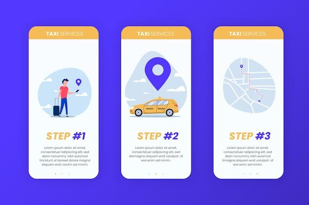 Schermate dell'app di onboarding del servizio taxi