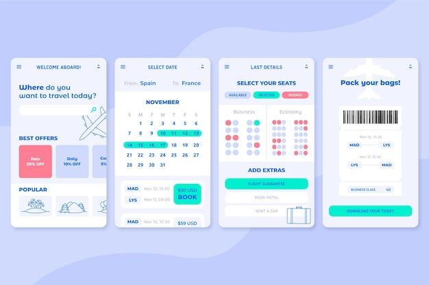 Schermate dell'app di prenotazione viaggi