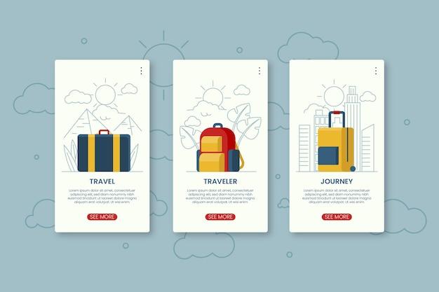 Schermate dell'app di viaggio integrate