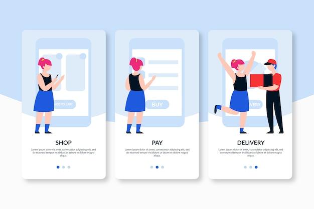 Schermate dell'app onboarding per l'acquisto e la consegna online