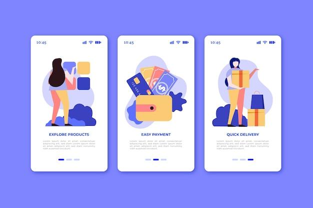Schermate dell'app onboarding per l'acquisto online