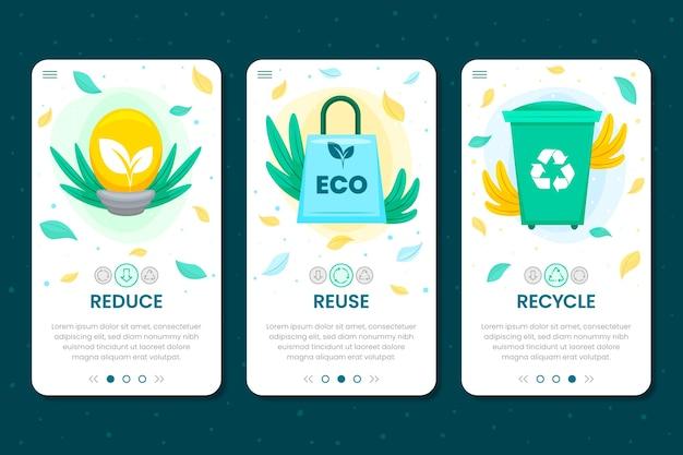 Schermate dell'app per il riciclaggio dell'ecologia