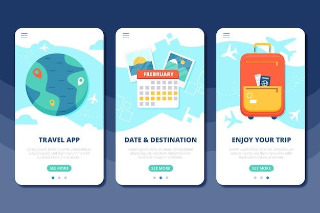 Schermate dell'app per l'onboarding dei viaggi di vacanza