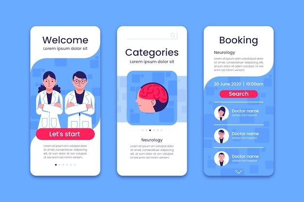 Schermate dell'app per la prenotazione di appuntamenti medici