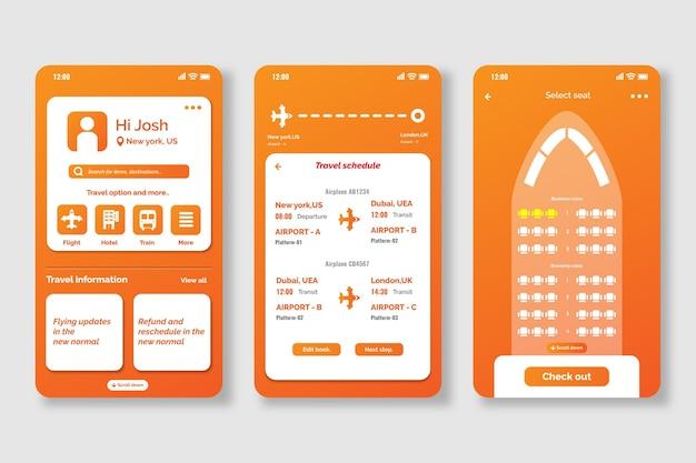 Schermate dell'app per la prenotazione di viaggi