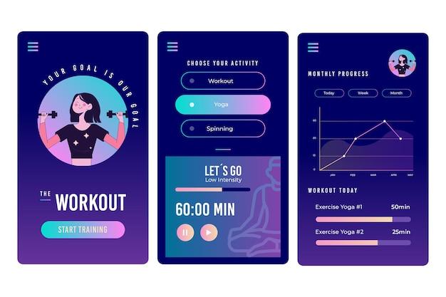 Schermate dell'app tracker allenamento