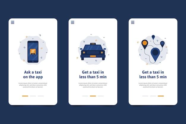 Schermate dell'applicazione di onboarding del servizio taxi
