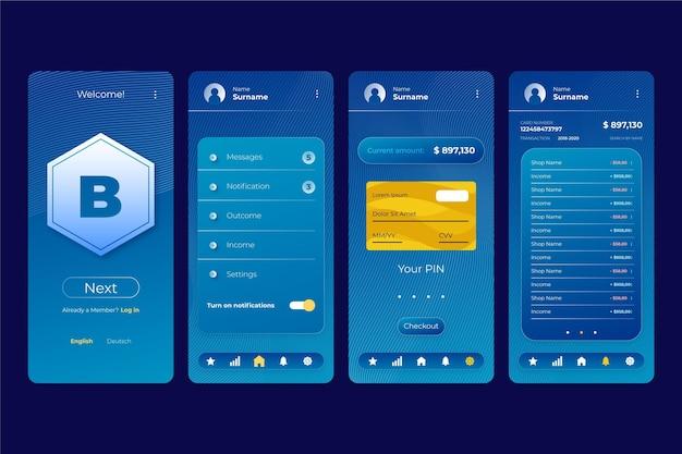 Schermate dell'interfaccia dell'app bancaria