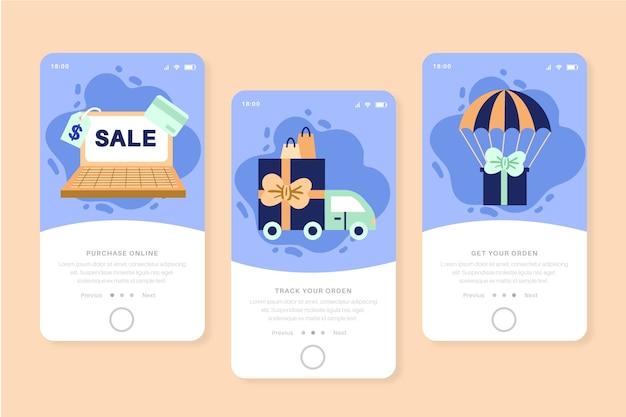 Schermate delle app di onboarding per l'acquisto online