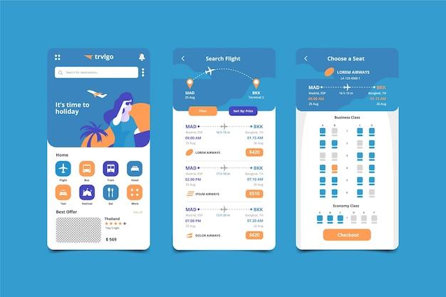 Schermate delle app di prenotazione viaggi