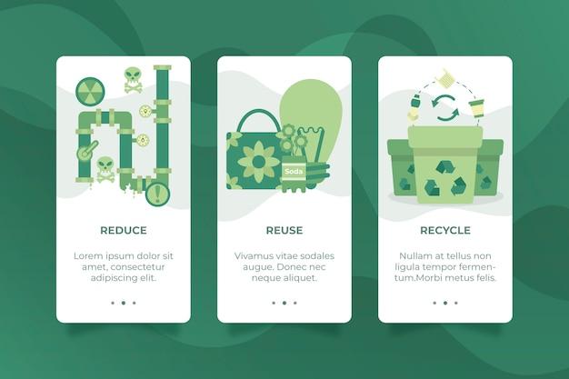 Schermate delle app integrate per il concetto di riciclo
