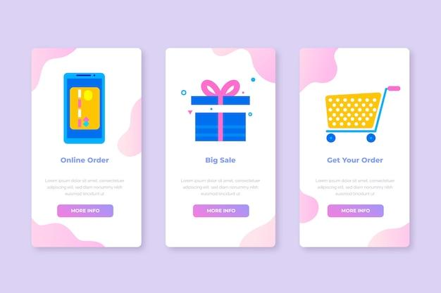 Schermate delle app integrate per l'acquisto di set di servizi online