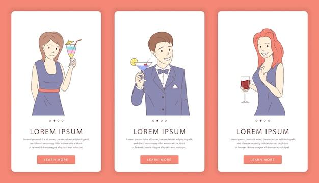 Schermate delle app mobili per cocktail party. modello di sito web di bar o ristorante.