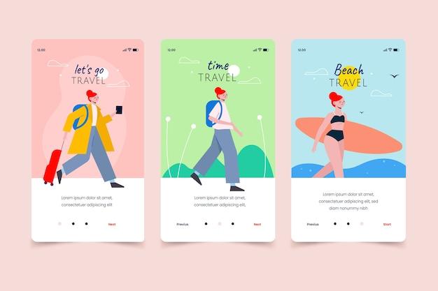 Schermate delle app mobili per i viaggi estivi