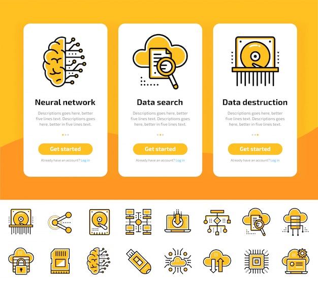 Schermate di app integrate di elaborazione dati, tecnologia internet e set di icone di sicurezza dei dati