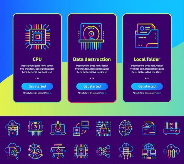 Schermate di app integrate di elaborazione dati, tecnologia internet e set di illustrazioni sicuro dei dati.