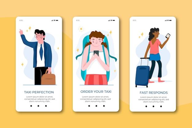 Schermate di app per il servizio taxi per il telefono cellulare