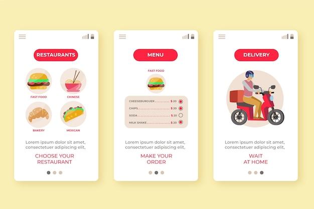 Schermate di onboarding per l'app di consegna cibo
