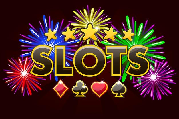 Schermate logo slot, banner su sfondo rosso con icone, stelle e fuochi d'artificio, screensaver gioco sfondo. illustrazione