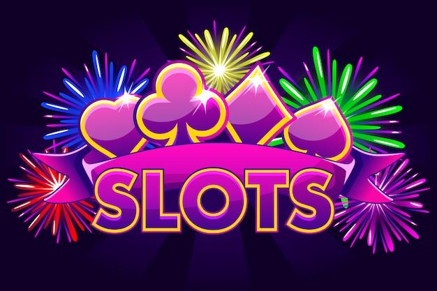Schermate logo slot, banner su sfondo viola con icone, nastro e fuochi d'artificio, screensaver gioco sfondo. illustrazione