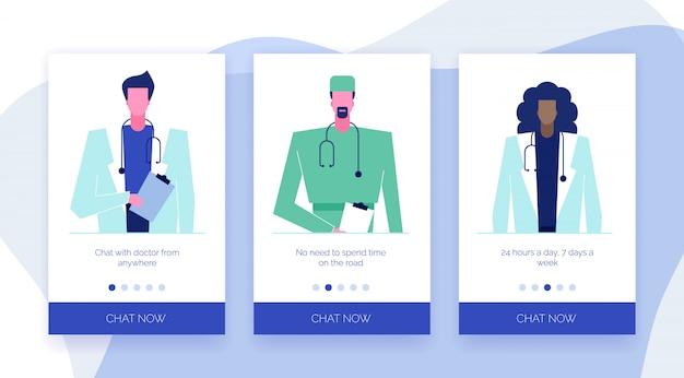 Schermi di app di supporto di consultazione medico online