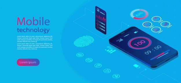 Schermi mobili infografica moderna.