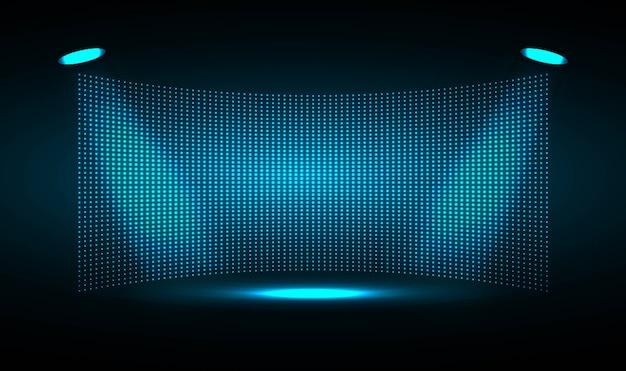 Schermo cinematografico a led blu per presentazioni di film.