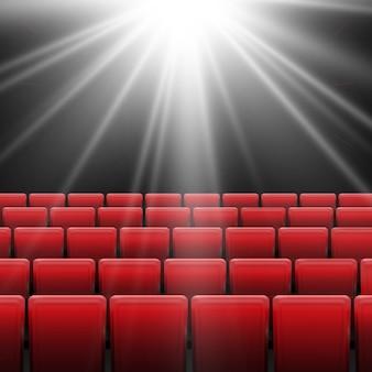 Schermo cinematografico con sedili rossi. concept grafico per il tuo design.movie cinema premiere poster design con schermo bianco.