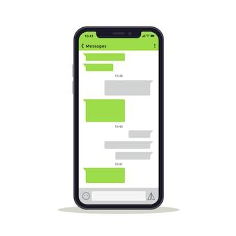 Schermo del telefono con modello di vettore di messaggi discussione discussione. concetto di rete sociale. messaggio di chat e discussione sull'illustrazione dello schermo mobile del telefono