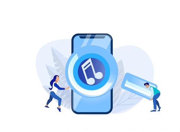 Schermo del telefono enorme con lettore audio e persone