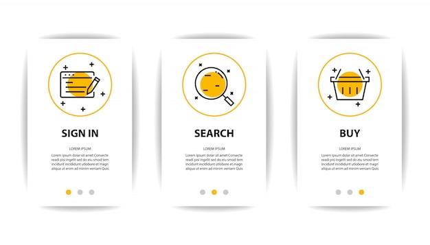 Schermo dell'applicazione mobile con icona di affari