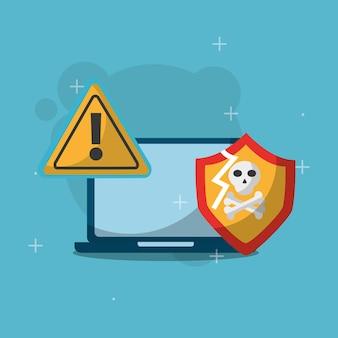 Schermo di avvertimento portatile ossa cranio sicurezza informatica
