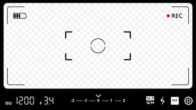 Schermo di messa a fuoco della fotocamera moderna con impostazioni
