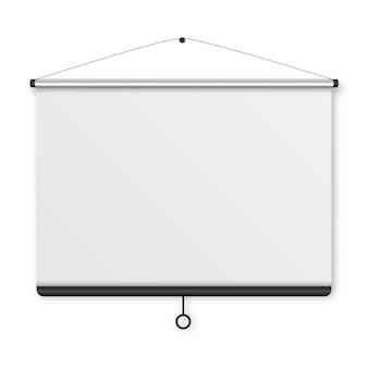 Schermo di proiezione vuoto, scheda di presentazione, lavagna vuota per conferenza